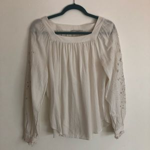 Loft White Long Sleeve Embroidered Blouse